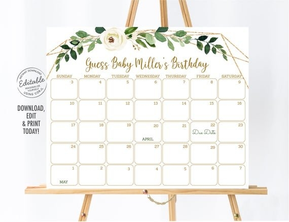 Editable Greenery Baby Due Date Calendar Birthday throughout Printable Baby Guess Date Chart Image