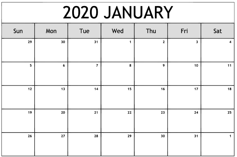 Editable January 2020 Calendar Printable Blank Template With pertaining to Printable Blank Monthly Calendar For 2020