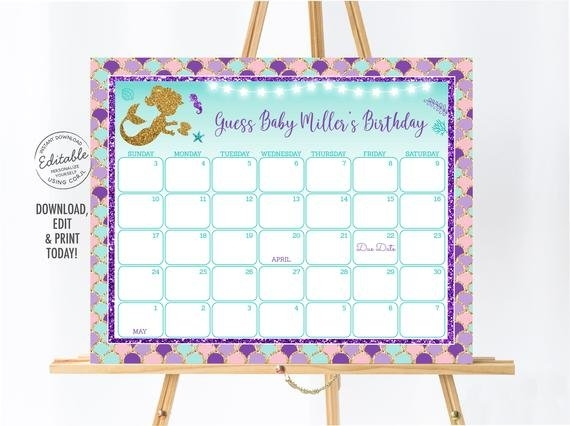 Editable Mermaid Baby Due Date Calendar Birthday Predictions inside Baby Due Date Print Out