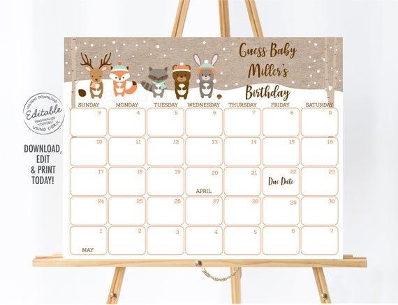 Editable Winter Woodland Baby Due Date Calendar, Winter Baby regarding Printable Baby Guess Date Chart