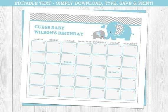 Elephant Baby Due Date Calendar, Elephant Baby Shower, Blue intended for Free Baby Guess Calendar Template