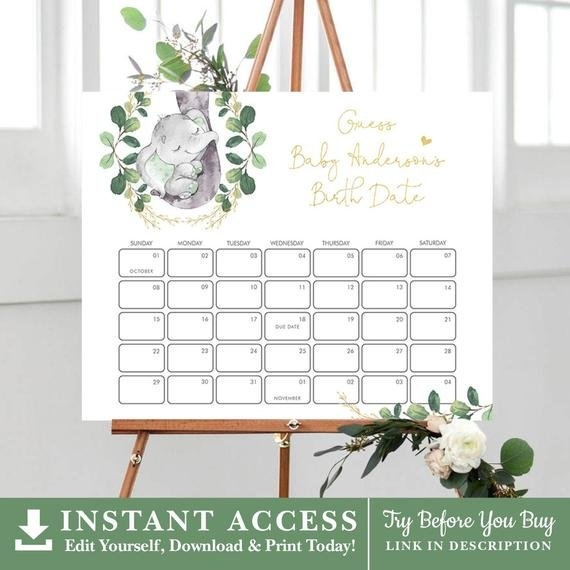 Elephant Baby Due Date Calendar. Greenery Guess Baby's in Guess The Due Date Calendar Template