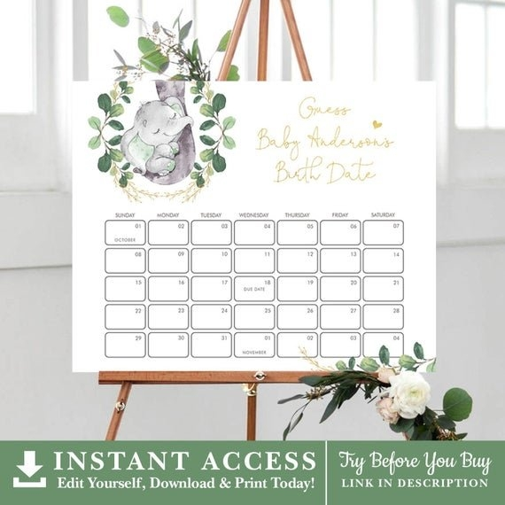 Elephant Baby Due Date Calendar. Greenery Guess Baby's with Guess The Date Template Download Image