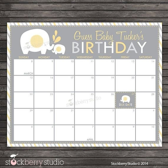 Elephant Guess The Due Date Calendar Printable Yellow And inside Guess The Due Date Calendar Template
