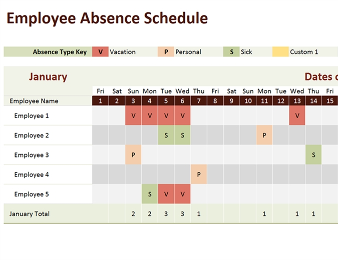 Employee Absence Schedule with Time Off Calendar Excel