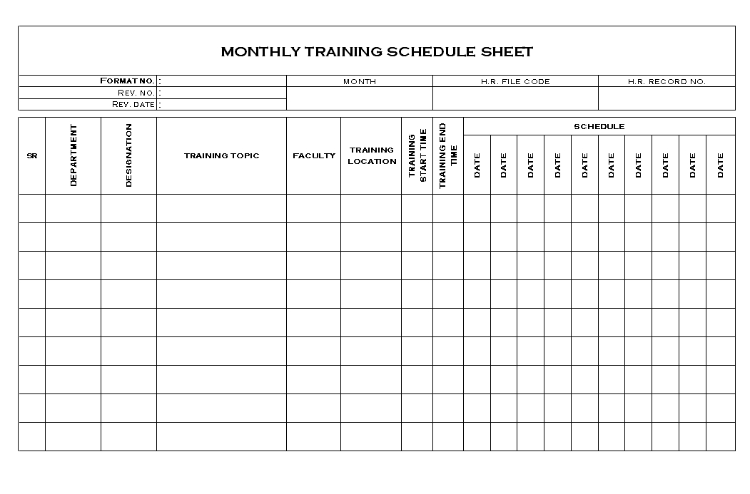 Employee Monthly Training Schedule Document - pertaining to Monthly Training Calendar Format Photo