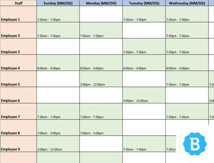 Employee Schedule Template [Free Instant Downloads] for Free Monthly Shift Schedule Image
