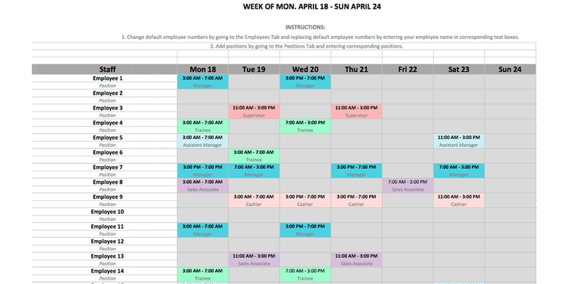 Employee Schedule Template In Excel And Word Format with regard to Excel Calendar To Manage Staff