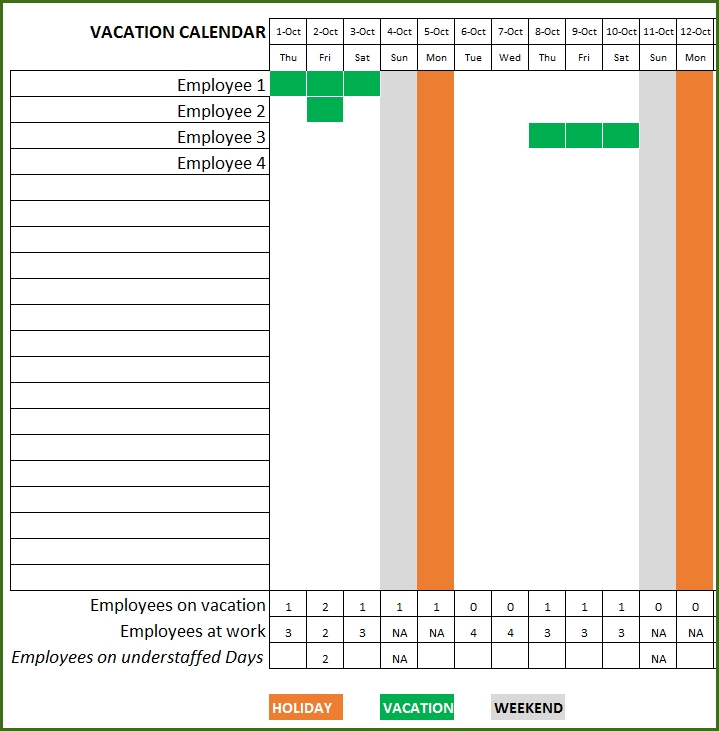 Employee Vacation Planner - Free Hr Excel Template For Managers throughout Free Printable Employee Vacation Calendar Graphics