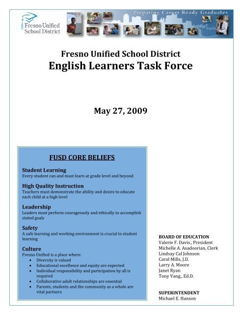 Engl Lish L Learn Ners Task K For Ce in Fresno Unified Academic Calendar