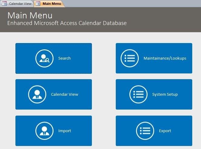 Enhanced Calendar Scheduling Database Template | Calendar in Calendar With Access Database