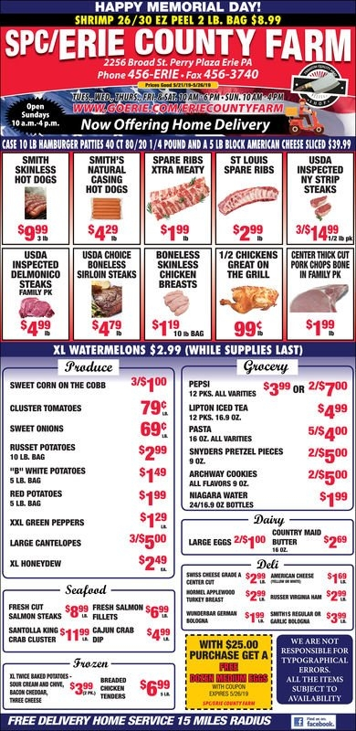 Erie County Farms Weekly Ad 05/21/2019 - 05/26/2019 pertaining to Erie County Farms Weekly Specials Graphics