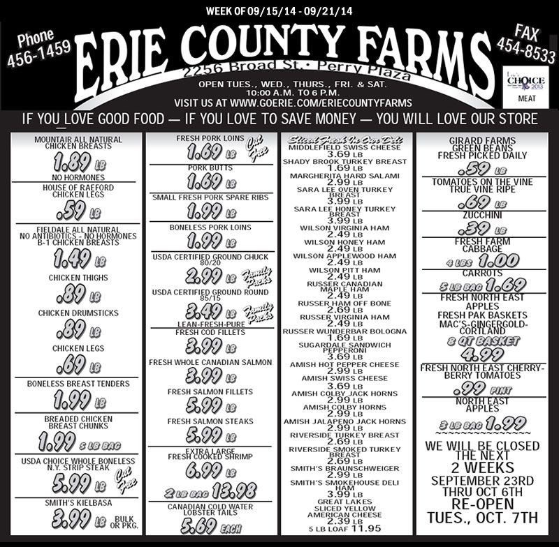 Erie County Farms Weekly Ad   Erie County, Erie, Ads intended for Erie County Farms Weekly Specials Graphics