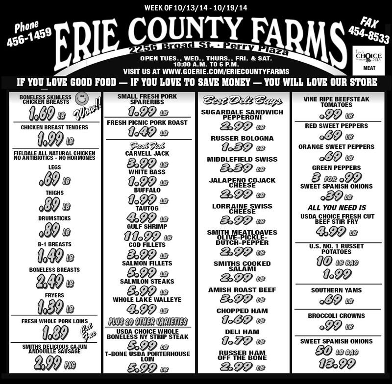 Erie County Farms Weekly Ad   Erie County, Erie, County regarding Erie County Farms Weekly Specials