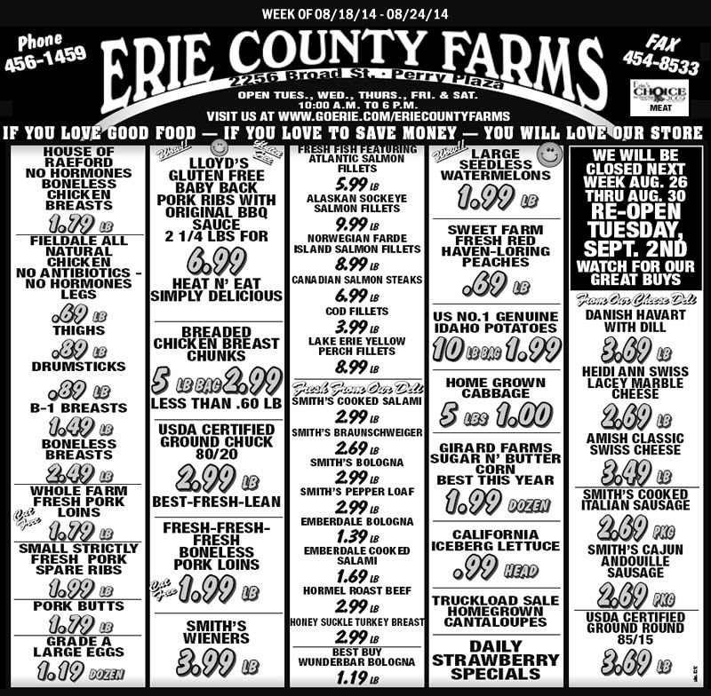 Erie County Farms Weekly Ad | Erie, Erie County, Weekly Ads with Erie County Farms Weekly Specials Graphics