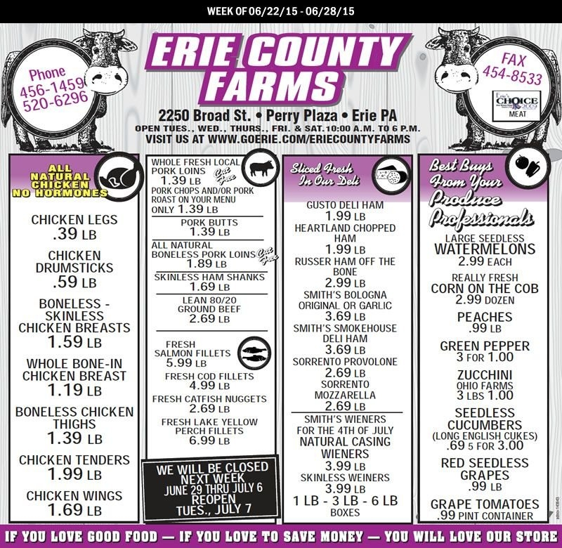 Erie County Farms Weekly Ad June 22 - 28   Erie County with regard to Erie County Farms Weekly Specials Graphics