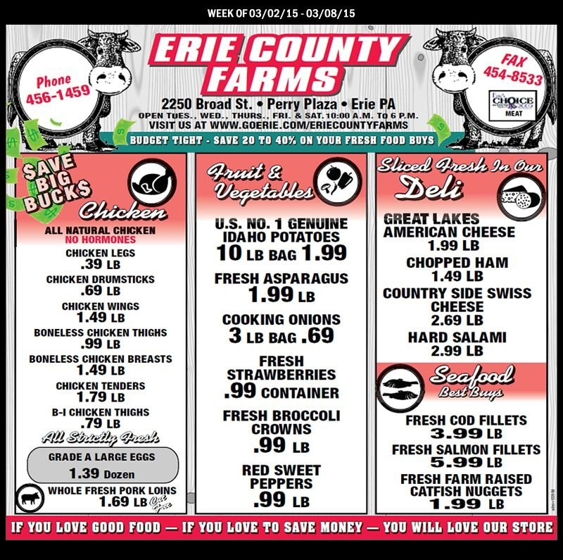 Erie County Farms Weekly Ad Week Of 3-2 Thru 3-8 2015   Erie in Erie County Farms Weekly Specials Graphics