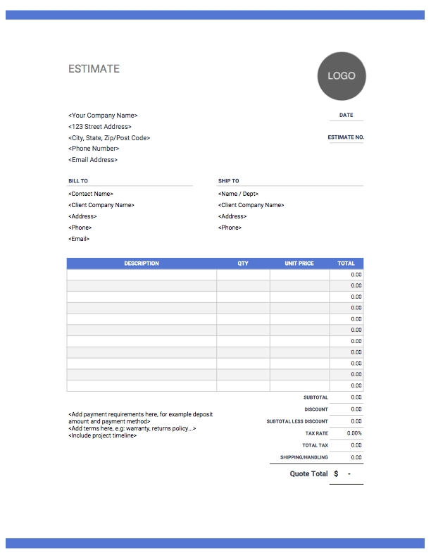 Estimate Templates | Free & Easy Download | Invoice Simple in Guess The Date Template Download Image