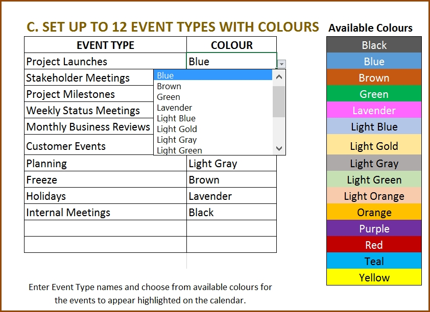Event Calendar Maker Excel Template V3 - Support with regard to Color Coded Excel Calendar
