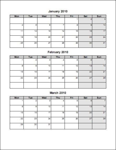 Ex1 Document Template – Matah pertaining to Word 3 Month Calendar Template Photo