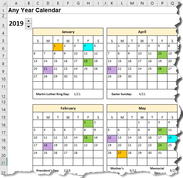 Excel Calendar Template Date Formulas Explained • My Online for Color Coded Excel Calendar