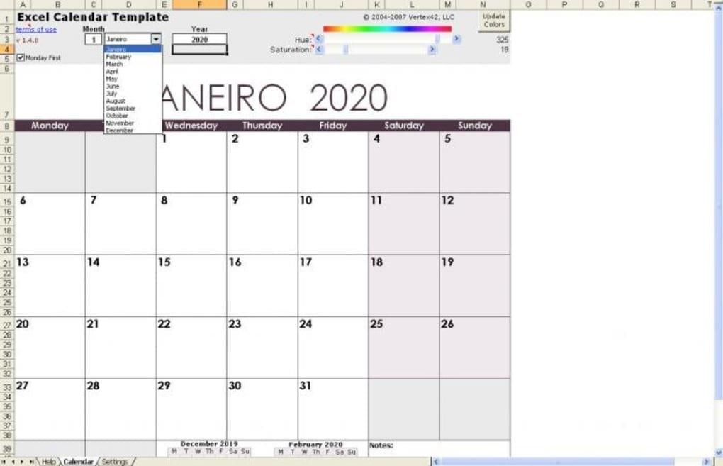 Excel Calendar Template - Download for Agenda Calendario Excel