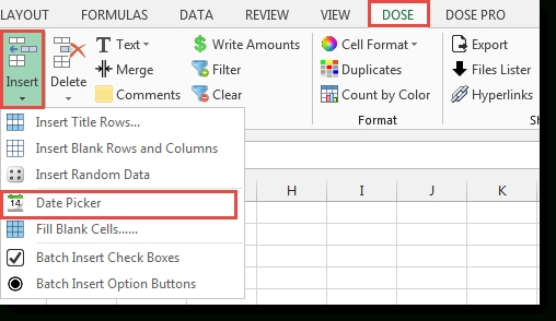 Excel Date Picker Insert Date In Cells in Add A Date Picker To Excel