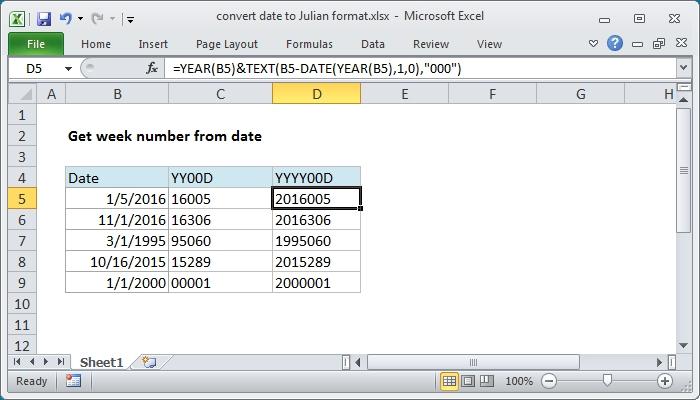 Excel Formula: Convert Date To Julian Format | Exceljet intended for Reverse Julian Calendar Converter