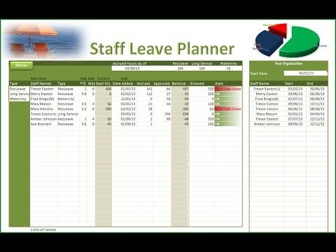 Excel Leave Planner - Staff Leave Planner with Excel Calendar To Manage Staff Photo