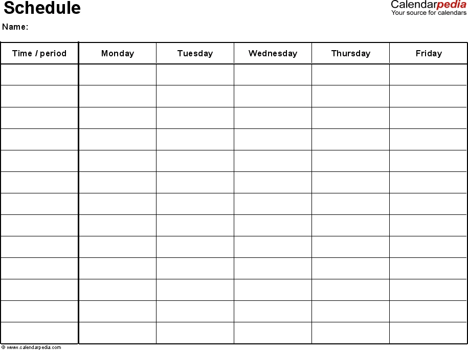 Excel Schedule Template 1: Landscape Format, 1 Page, Monday pertaining to Monday Thru Sunday Calendar Graphics