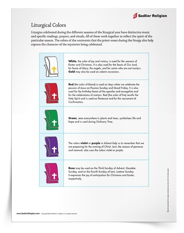 Explaining Liturgical Colors Lesson And Activity within Parament Color Schedule