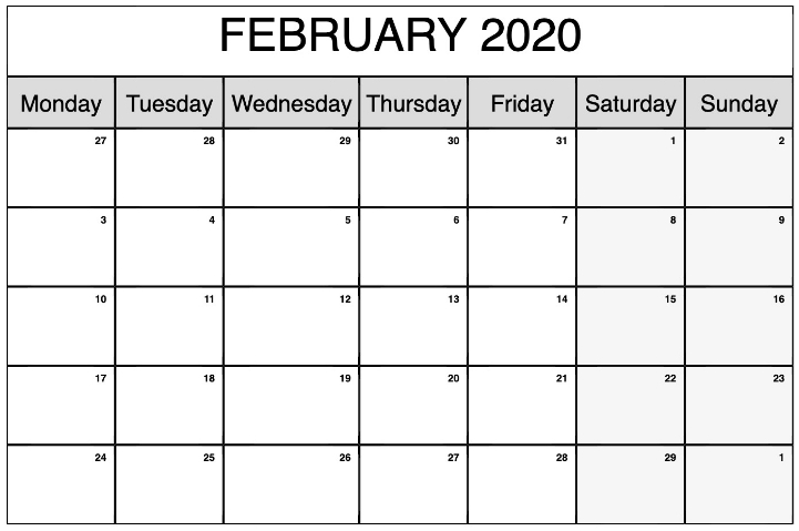 February 2020 Blank Calendar Printable Templates With Notes inside Printable Calendar 2020 Monthly No Weekends Photo