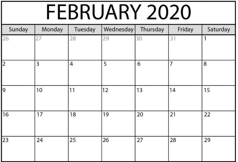 February 2020 Calendar Word | Calendar Word, Blank Calendar throughout Blank Calendar 2020 Image