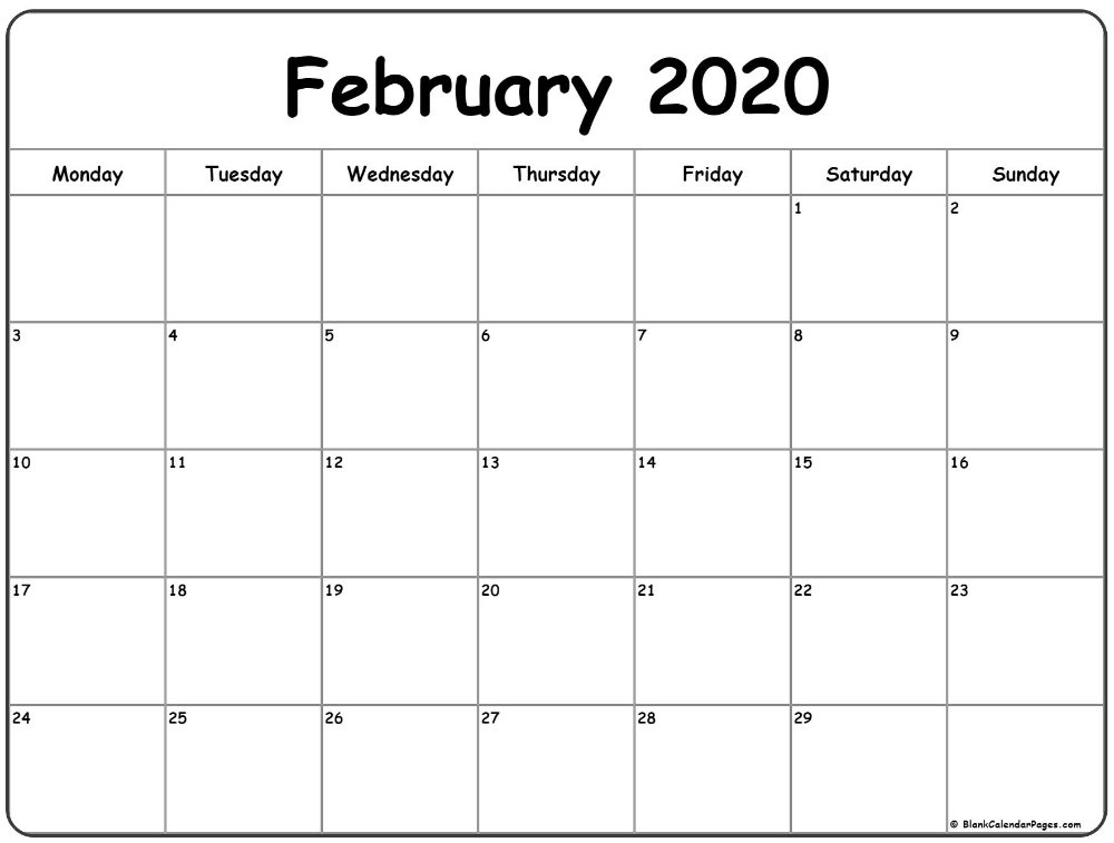 February 2020 Monday Calendar | Monday To Sunday In 2020 intended for Free Calendars Monday Thru Sunday