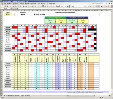 Foglio Presenze In Excel: Gestione Presenze, Ferie, Malattie with Piano Ferie Modelli Da Scaricare