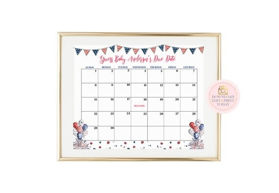 Fourth Of July Printable Pregnancy Calendar, Red White And for Free Printable Calendar For Guessing Due Date Graphics