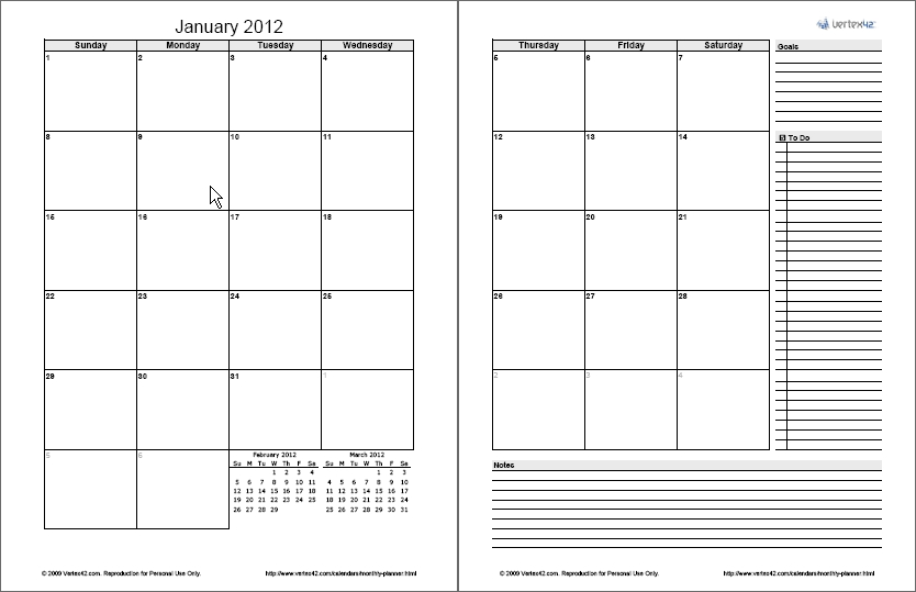 Free 2-Page Monthly Downloadable Planner This Version Of The throughout Printable Monthly Calendar 8 1/2 X 11