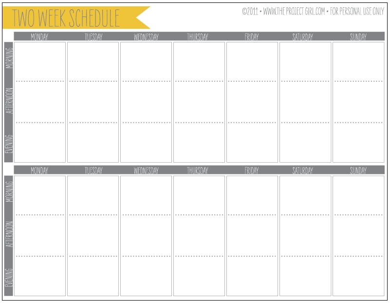Free 2 Week Schedule Download | Jenallyson - The Project with 2 Week Schedule Template Free Image