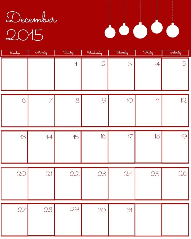 Free 2015 Printable Calendar | The Bearfoot Baker inside Calenders That You Can Write In