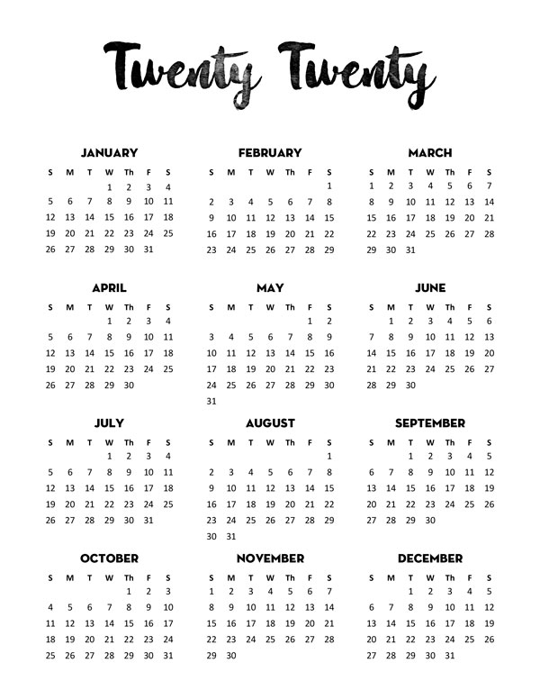 Free 2020 Calendar Printable One Page - Lovely Planner for One Page Calendar Image