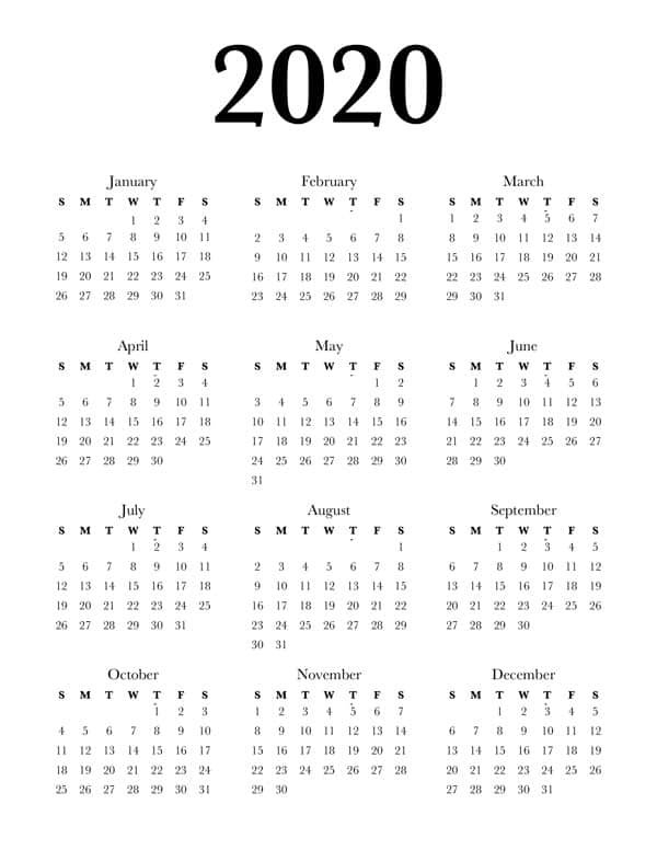 Free 2020 Calendar Printable One Page - Lovely Planner pertaining to One Page Calendar Image