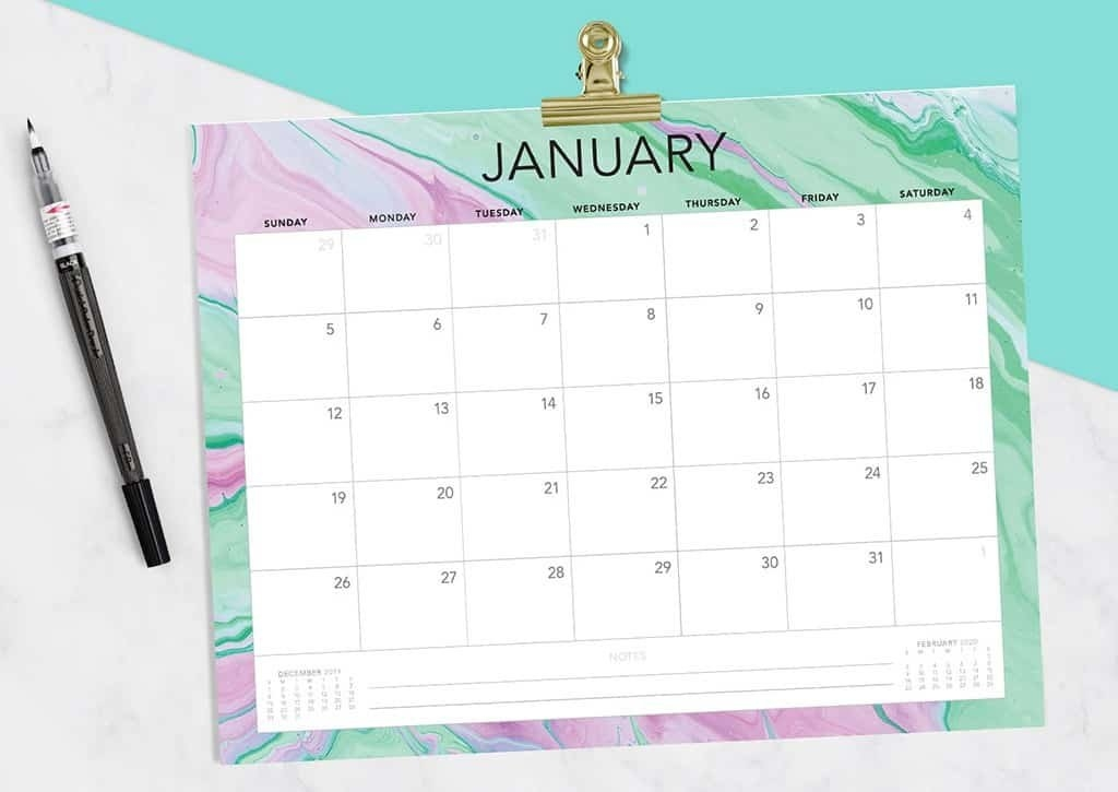 Free 2020 Printable Calendars - 51 Designs To Choose From! in 90 Days Pdf Calendar