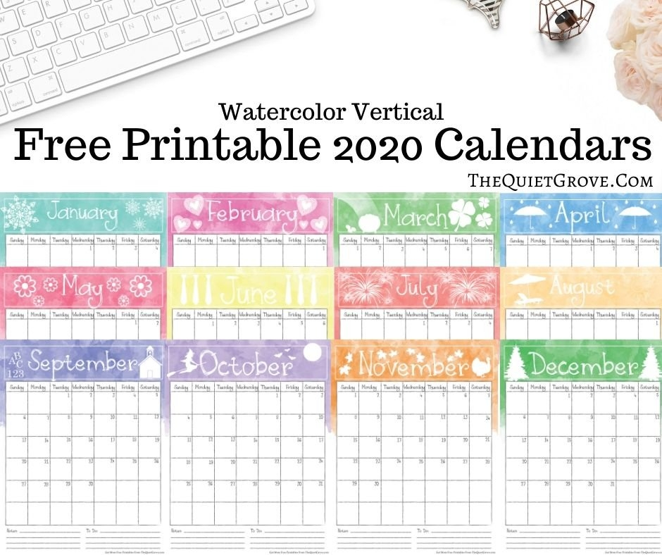Free 2020 Printable Calendars (Watercolor Design) ⋆ The for Calendars You Can Write In