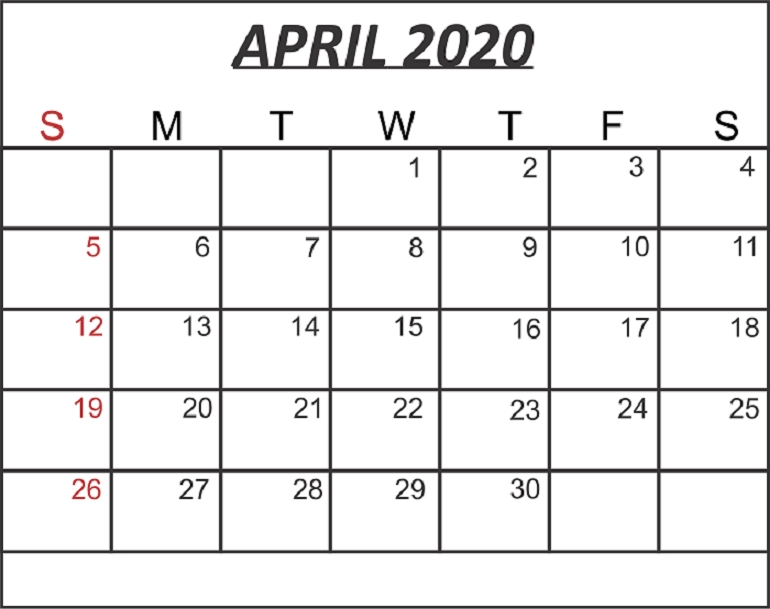 Free Blank April 2020 Calendar Printable In Pdf, Word, Excel with regard to Printable Calendar 2020 Monthly No Weekends Photo