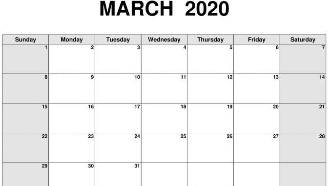 Free Blank Calendar March 2020 Printable Sheets - Set Your inside Blank Calendar 2020