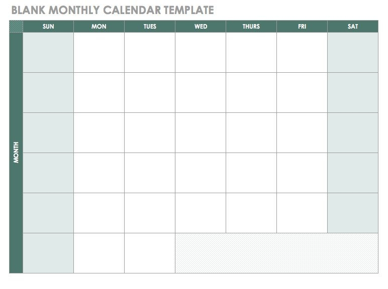 Free Blank Calendar Templates - Smartsheet pertaining to Printable Calender Without Weekends Image