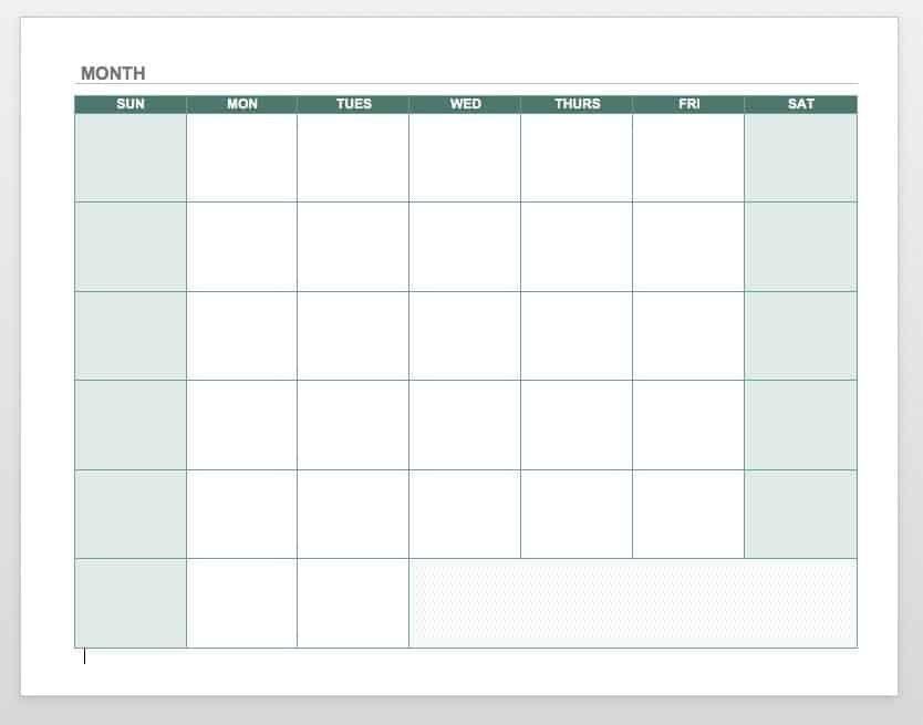 Free Blank Calendar Templates - Smartsheet regarding Printable Calendar Weekdays Only
