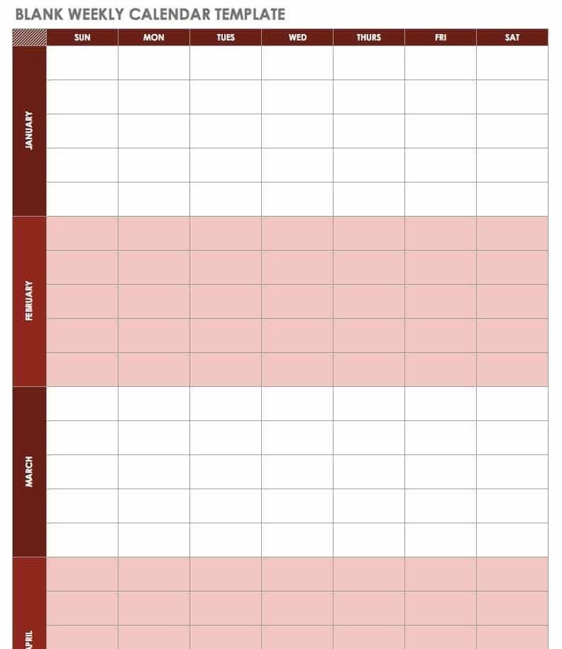 Free Blank Calendar Templates - Smartsheet with Color Coded Calendar Printable