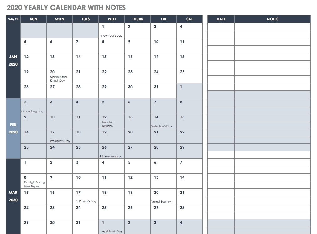 Free Blank Calendar Templates - Smartsheet with regard to Day Runner Pro Free Calander Printout Graphics