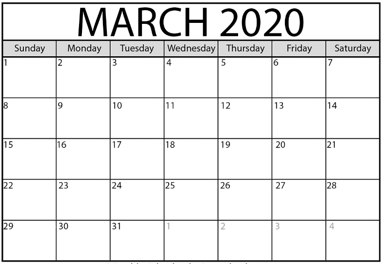 Free Blank March 2020 Calendar Fillable Template With Notes throughout Blank Calendar 2020